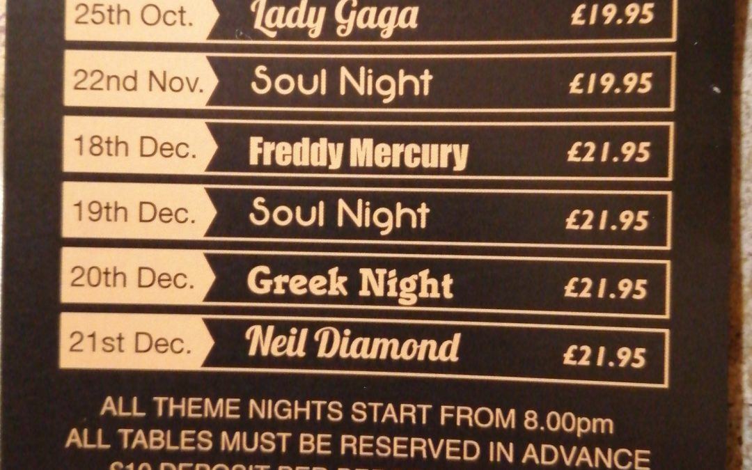 Theme Night Dates & Prices